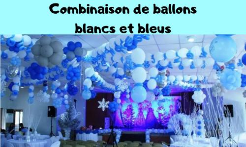 Combinaison de ballons blancs et bleus