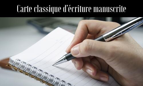Carte classique d'écriture manuscrite