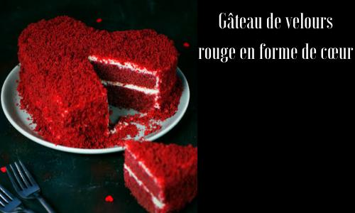 Gâteau de velours rouge en forme de cœur