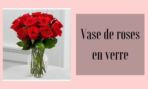 Vase de roses en verre