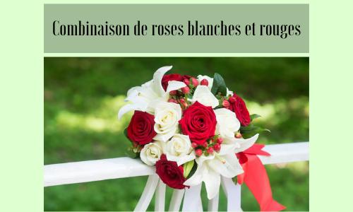 Combinaison de roses blanches et rouges