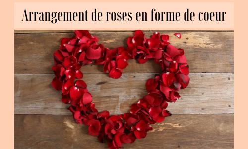 Arrangement de roses en forme de coeur