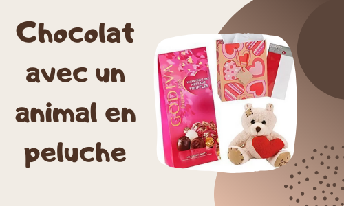 Chocolat avec un animal en peluche