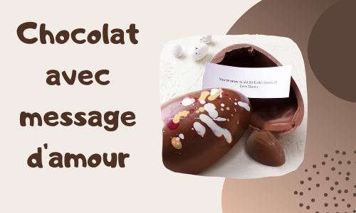 Chocolat avec message d'amour