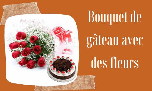 Bouquet de gâteau avec des fleurs