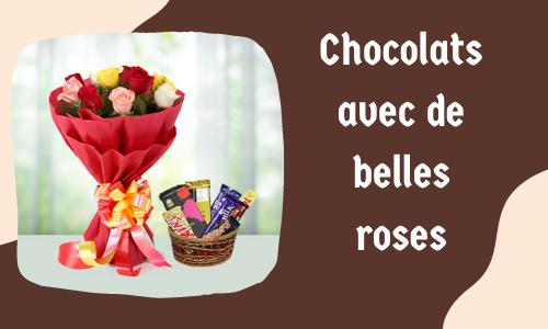 Chocolats avec de belles roses