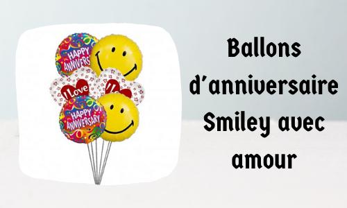 Ballons d'anniversaire Smiley avec amour