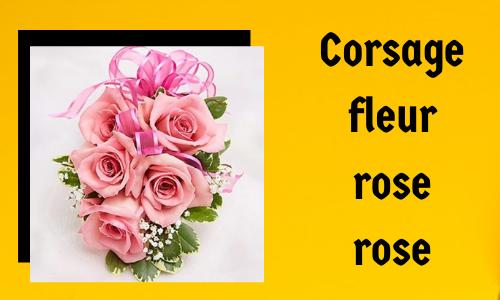 Corsage fleur rose rose