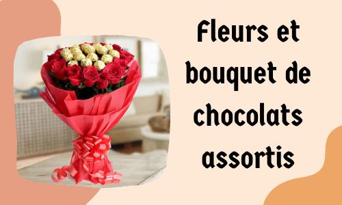 Fleurs et bouquet de chocolats assortis
