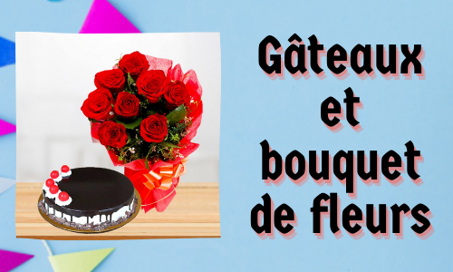 Gâteaux et bouquet de fleurs
