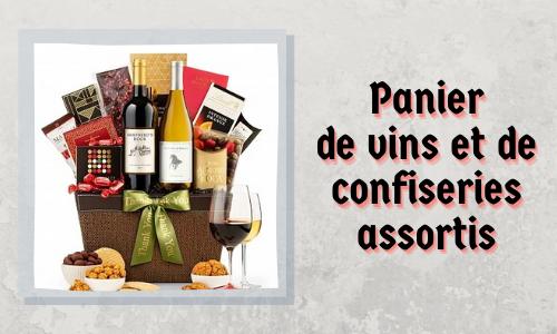Panier de vins et de confiseries assortis