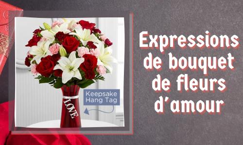Expressions de bouquet de fleurs d'amour