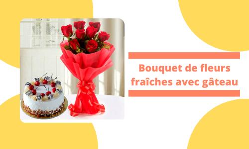 Bouquet de fleurs fraîches avec gâteau