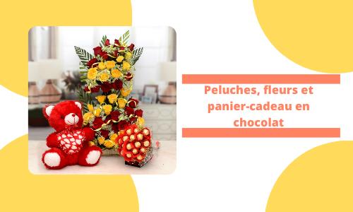 Peluches fleurs et panier-cadeau en chocolat