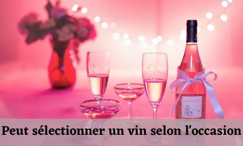 Peut sélectionner un vin en fonction de l'occasion