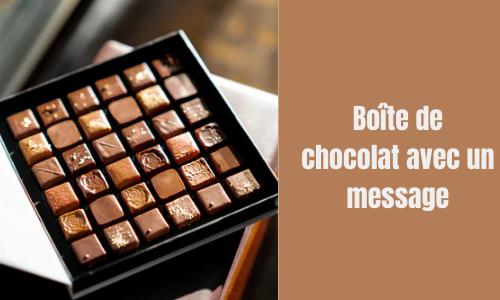 Boîte de chocolat avec un message