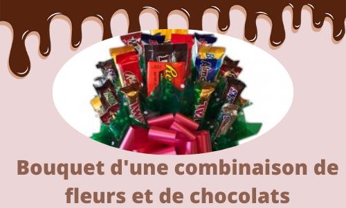 Bouquet d'une combinaison de fleurs et de chocolats