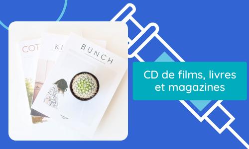 CD de films, livres et magazines