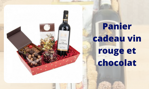 Panier cadeau vin rouge et chocolat