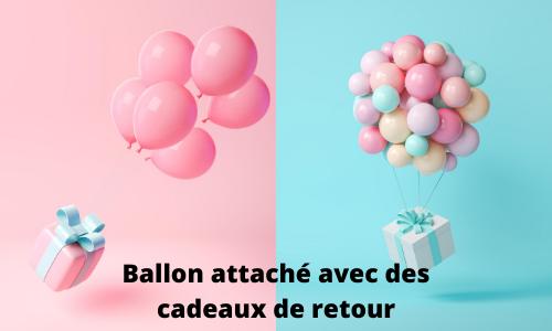 Ballon attaché avec des cadeaux de retour