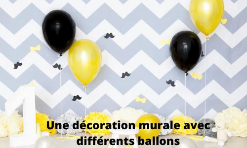 Une décoration murale avec différents ballons