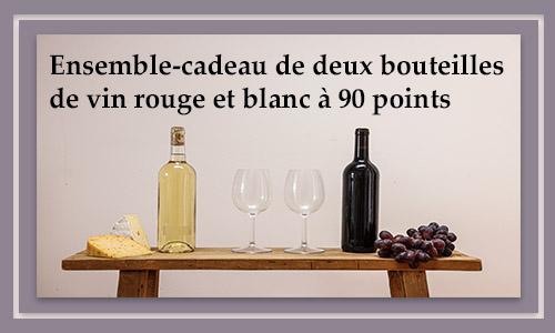 Ensemble-cadeau de deux bouteilles de vin rouge et blanc à 90 points