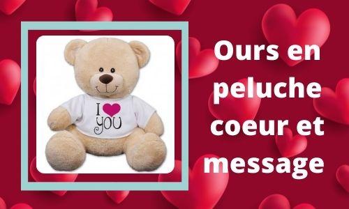 Ours en peluche coeur et message