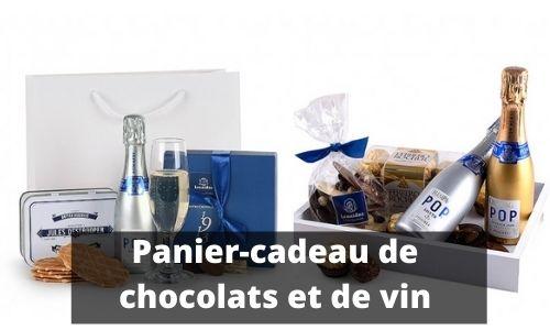 Panier-cadeau de chocolats et de vin